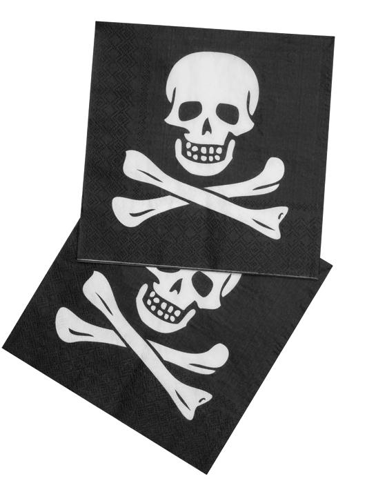 Set 12 Servetten Piraat doodshoofd (33 x 33 cm)