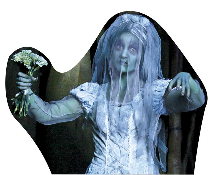 Kartonnen decoratie Zombie bruid dubbelzijdig (55 x 68 cm)