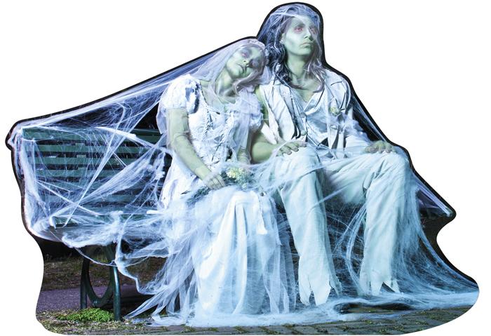 Kartonnen decoratie Zombie echtpaar dubbelzijdig (46 x 65 cm)