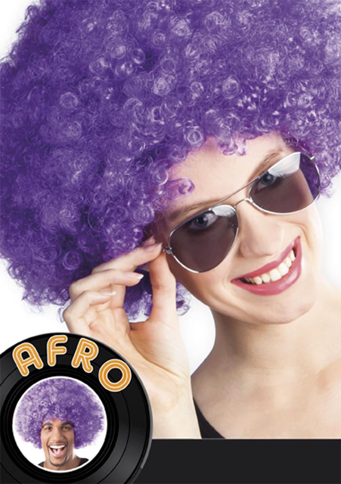 Pruik Afro paars