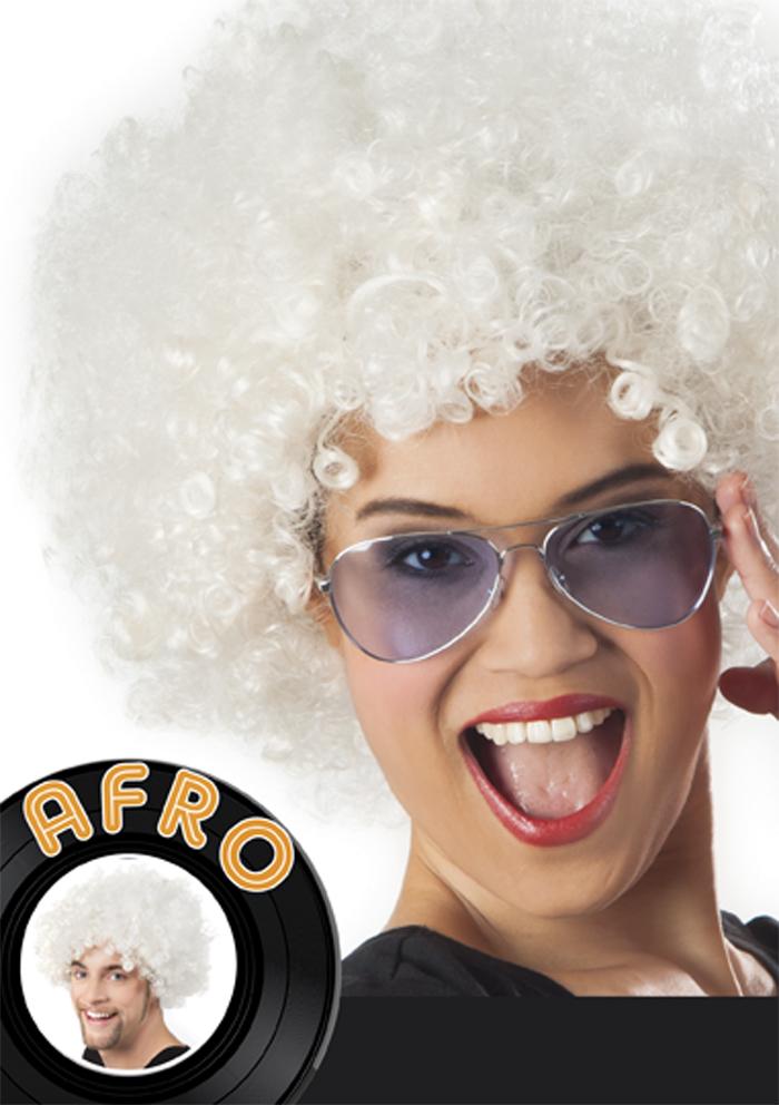 Pruik Afro wit