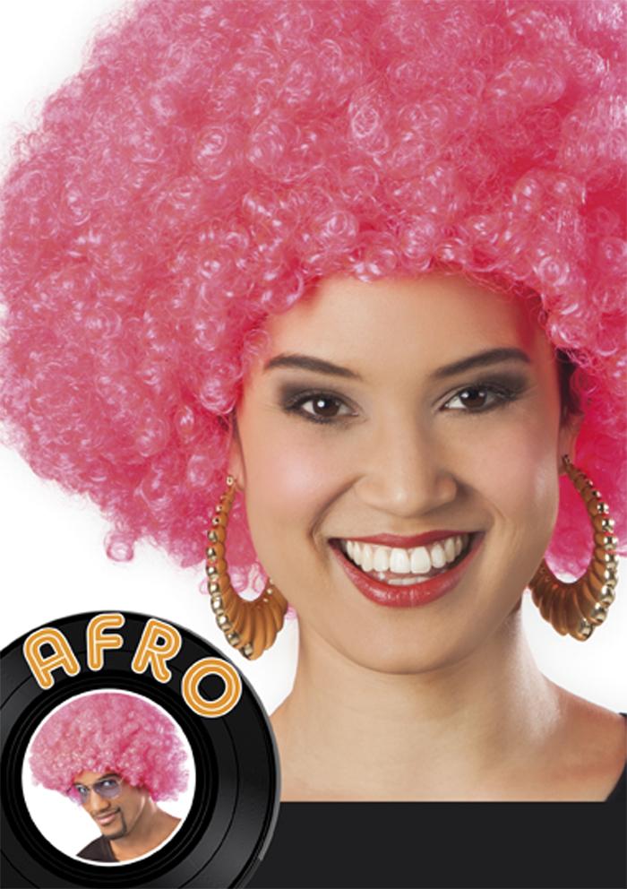 Pruik Afro roze