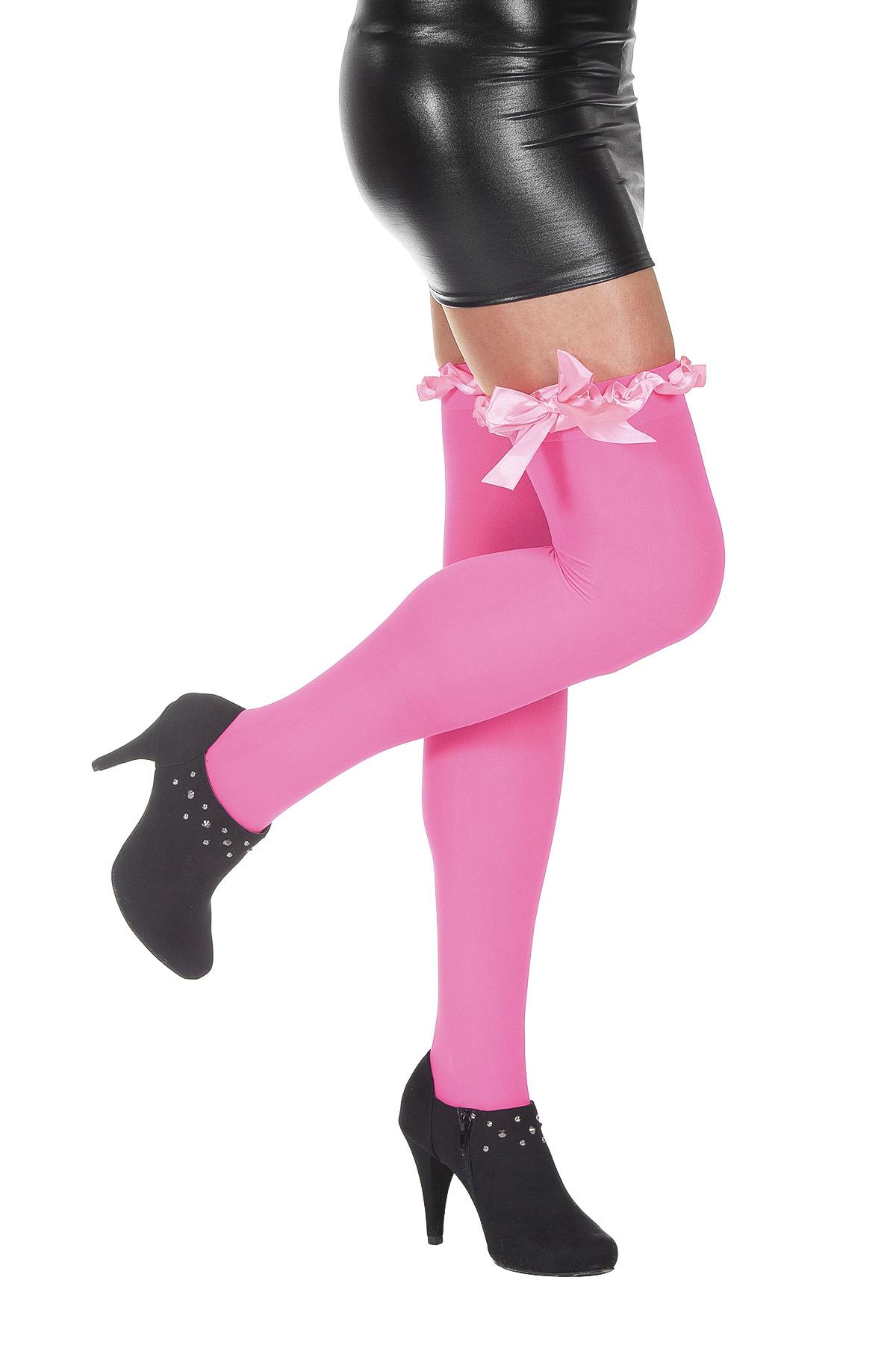 Overknee met strik luxe roze