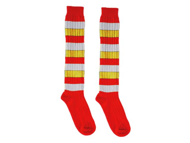 Overknee kousen rood/wit/geel
