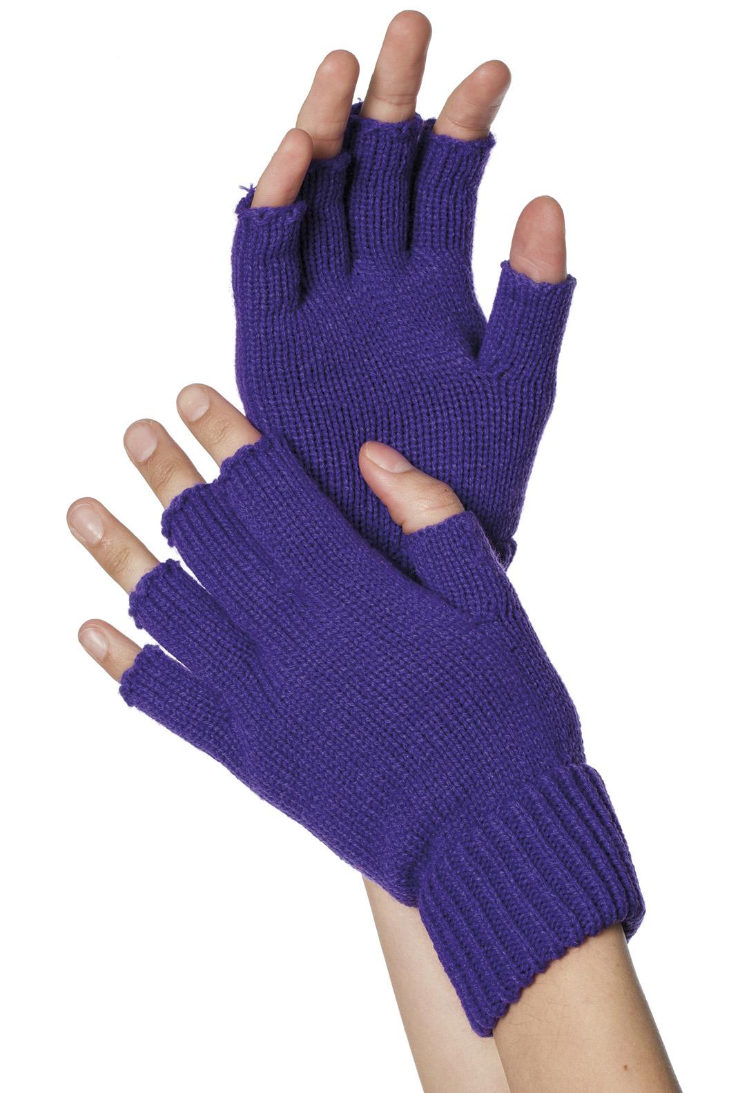 Handschoenen vingerloos gebreid uni paars