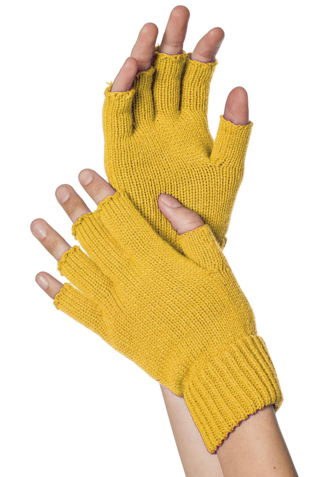 Handschoenen vingerloos gebreid uni geel