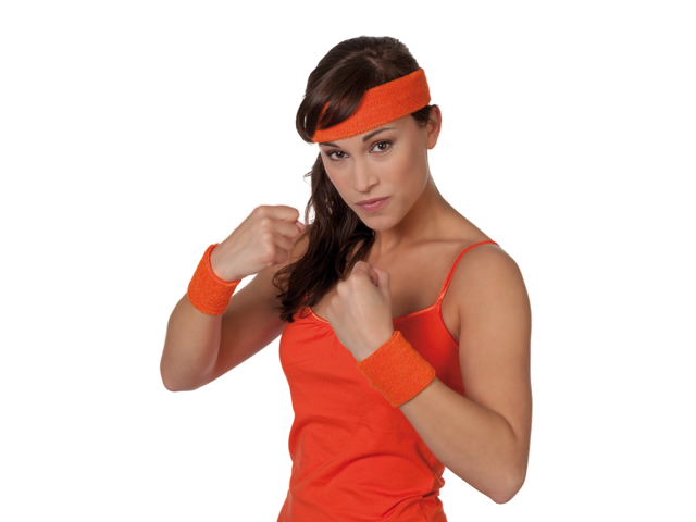 Polsbandjes en hoofdband oranje