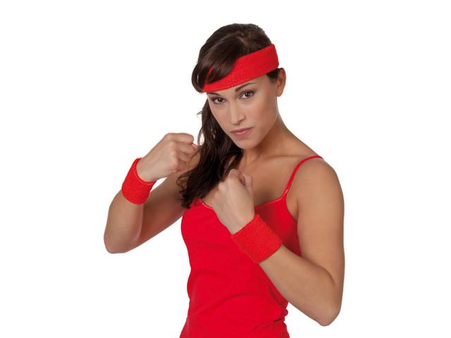Polsbandjes en hoofdband rood