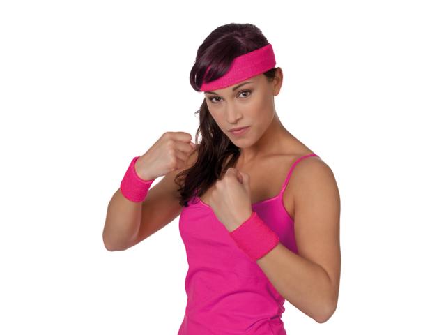 Polsbandjes en hoofdband pink