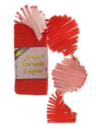Crepe slinger rood/wit 5m