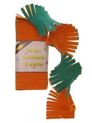 Crepe slinger oranje/groen 5m