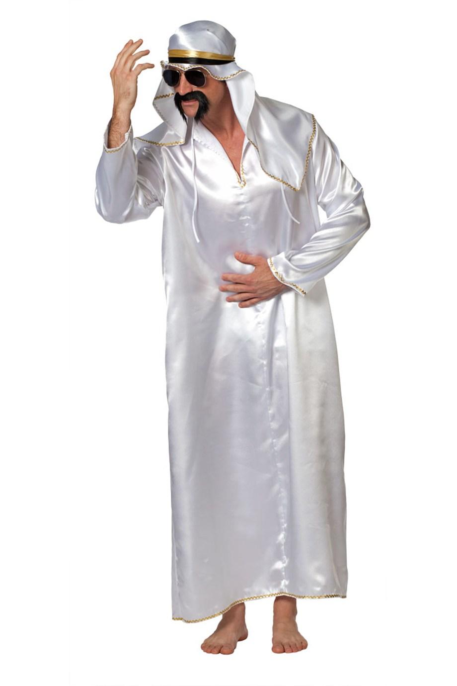 Sjeik kostuum wit voor heer (Oliebaron)