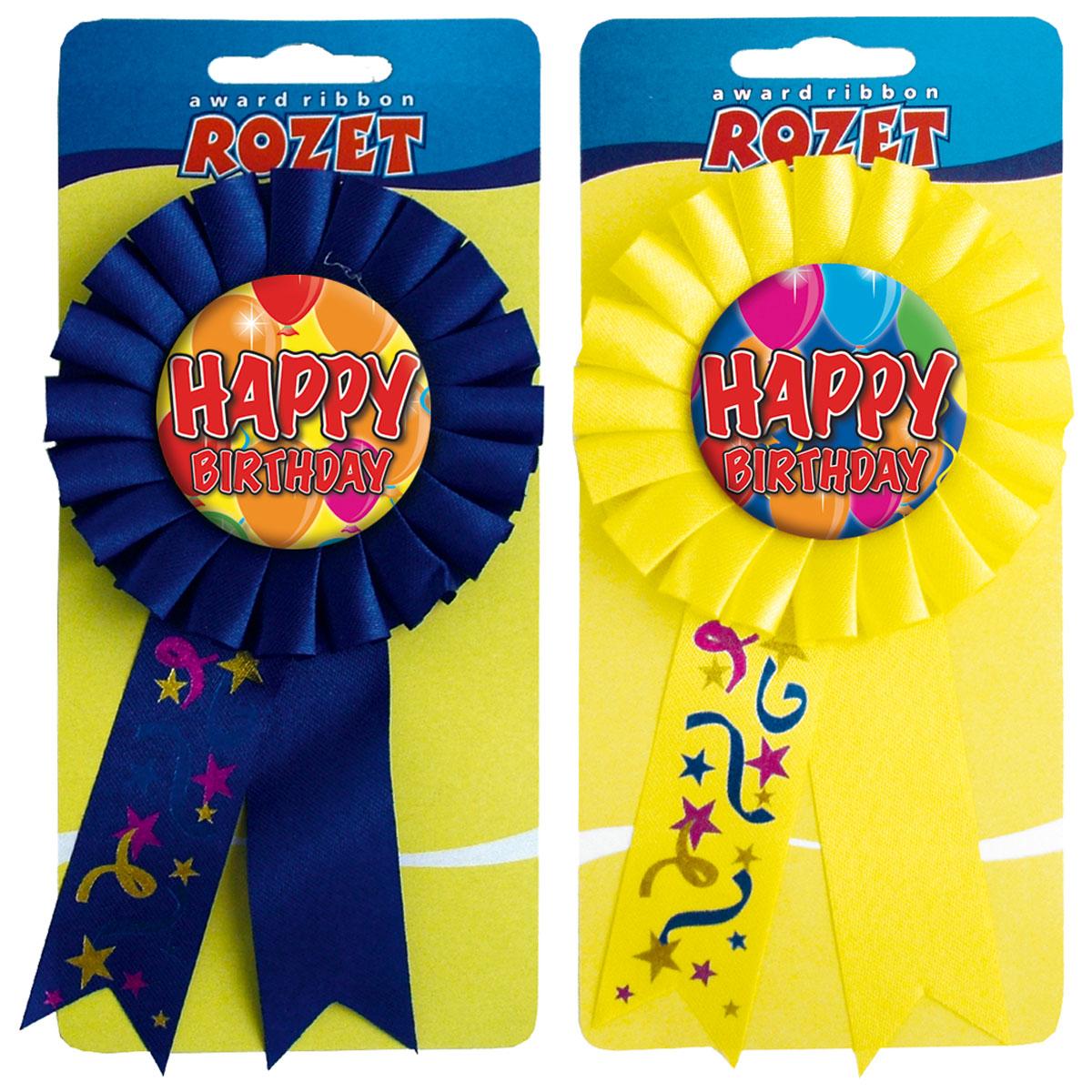 Rozet ballon happy birthday per stuk