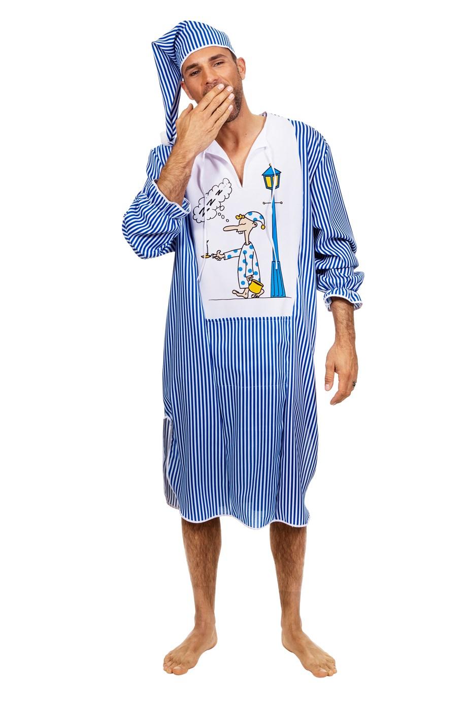 Pyjama slaapwandelaar met muts voor heer