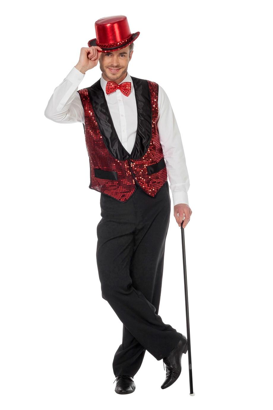 Glitter gilet met rode pailletten voor heer