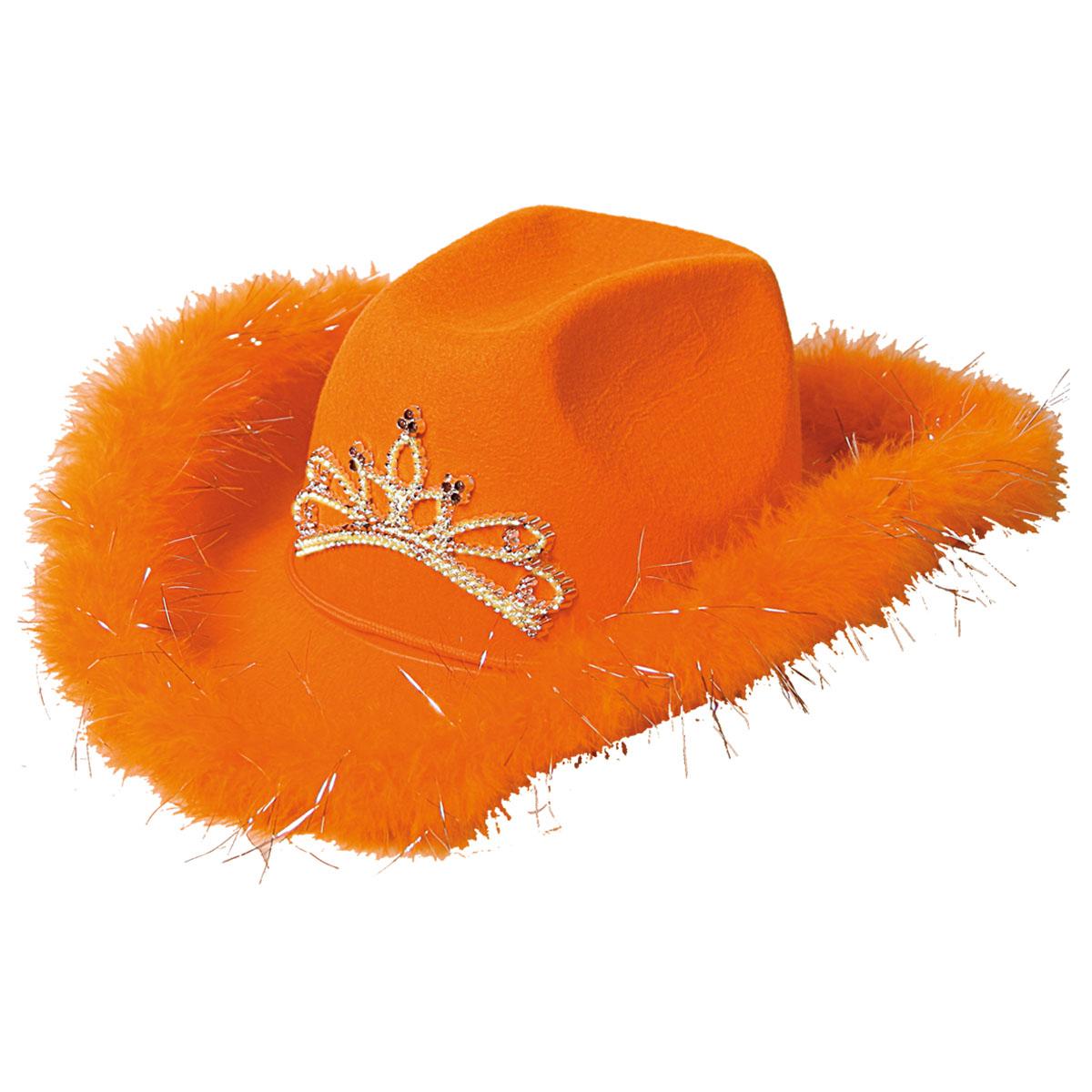 Cowboyhoed deluxe oranje met licht