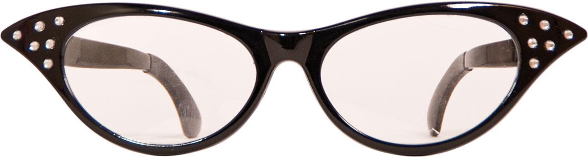 Bril XXL Lady Zwart met transparante glazen