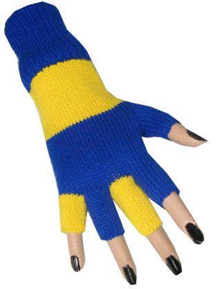 Hand schoen blauw/geel