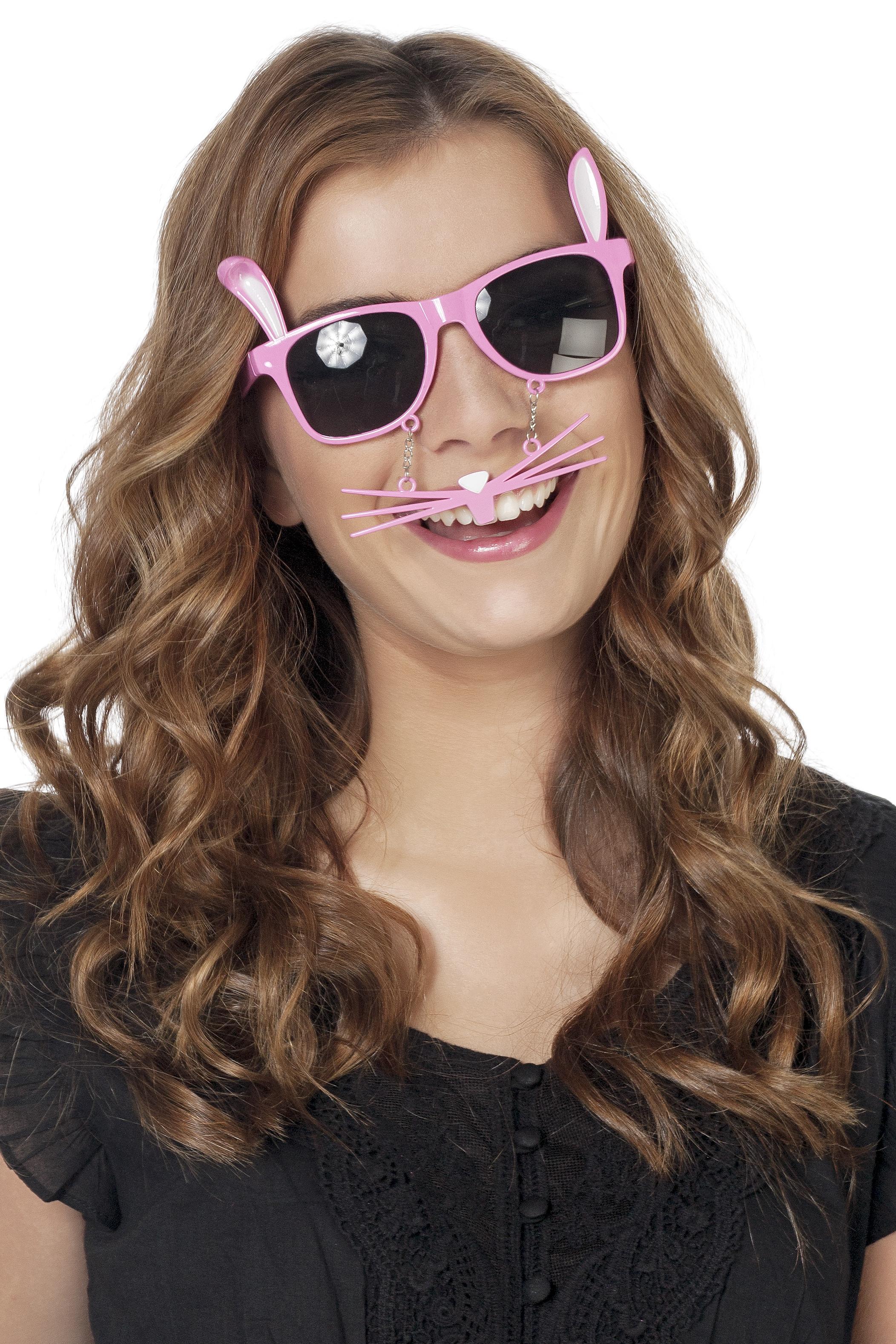 Bril konijn met snorharen roze