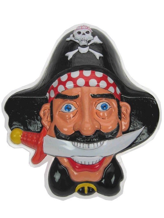 Wanddecoratie piratenhoofd met dolk 36x45cm