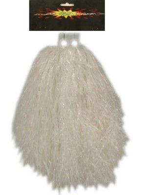 Cheerleader pompon wit met ringgreep per stuk