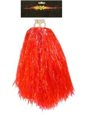 Cheerleader pompon rood met ringgreep per stuk