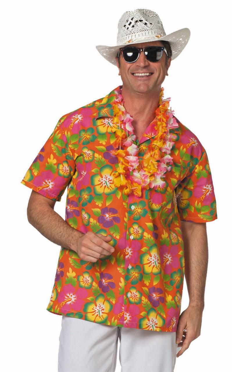 Hawai blouse oranje voor heer