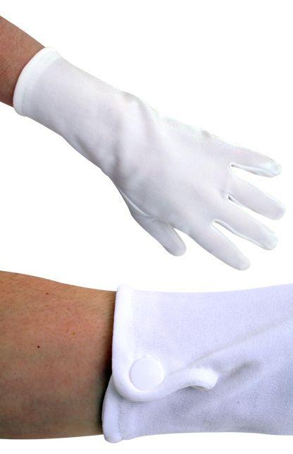 Handschoenen wit kort met drukknoopjes katoen