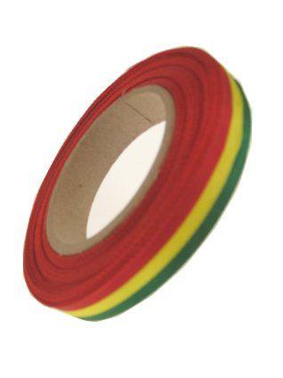 Medaille lint rood/geel/groen 25 mtr op rol 10 mm