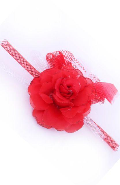Broche roos met tube en veertjes(speld en haarclip) Rood/Wit