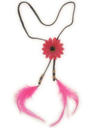 Hoofdbandje hippie / ibiza met bloem pink en veren