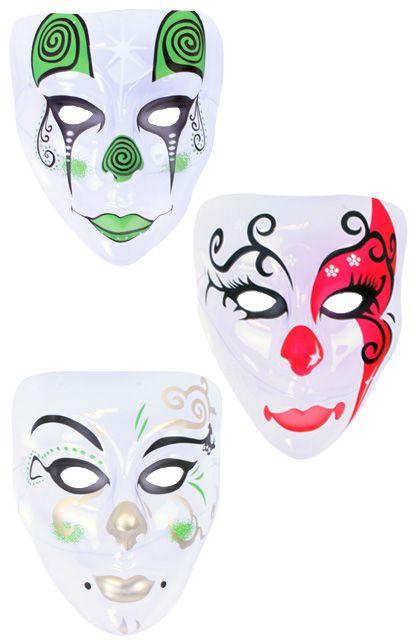 Masker plastic pierrot transparant