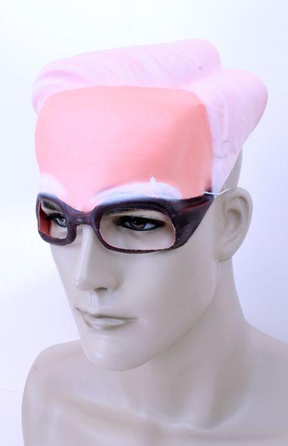 Schedel plastic opa grijs haar met bril