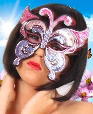 Oogmasker vinyl vlinder en pailletten pink/paars