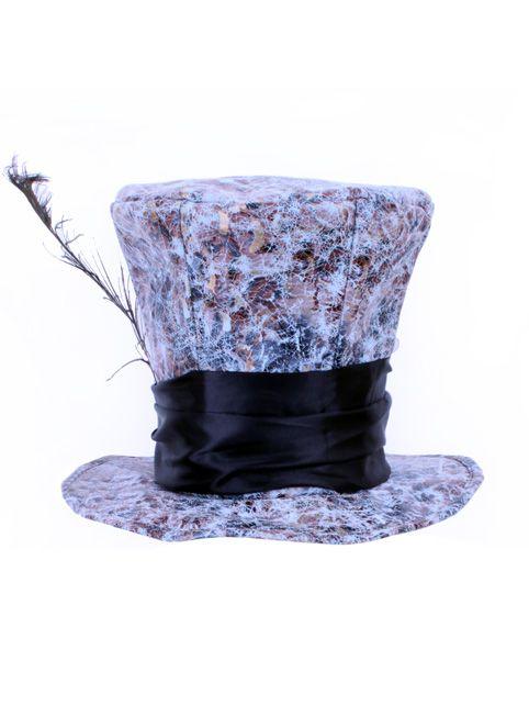 Mad hatter hoed met pauwveer one size