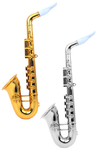 Saxofoon goud of zilver 37 cm wordt per stuk en per kleur geleverd.