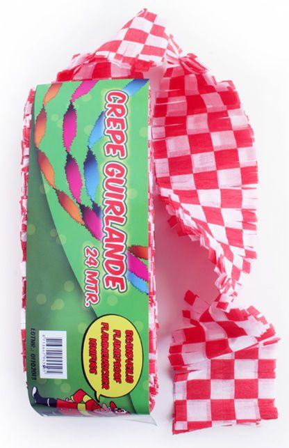 Crepe guirlande brandveilig rood/wit geblokt 24m