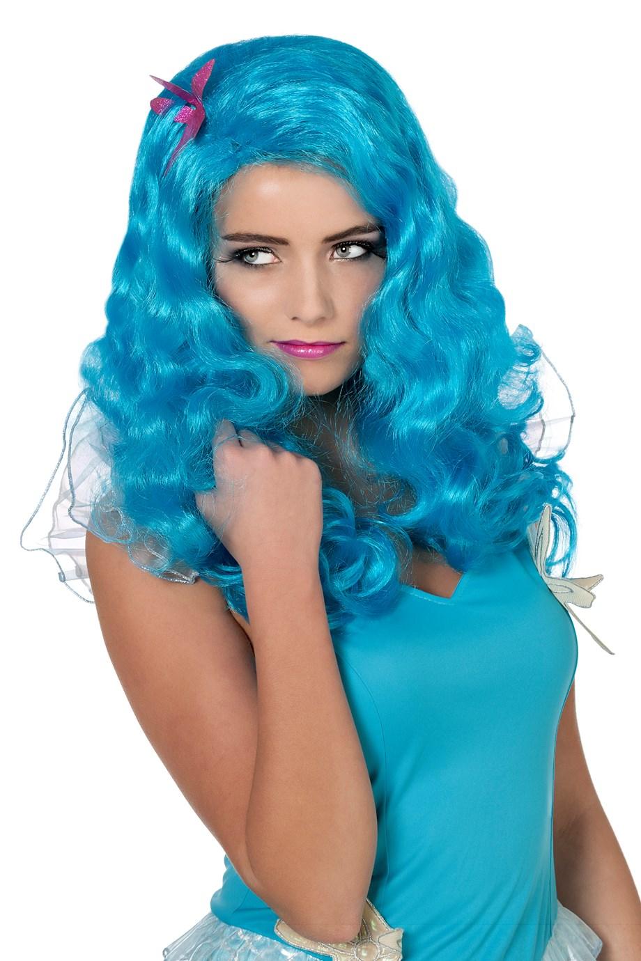Pruik zeemeermin blauw