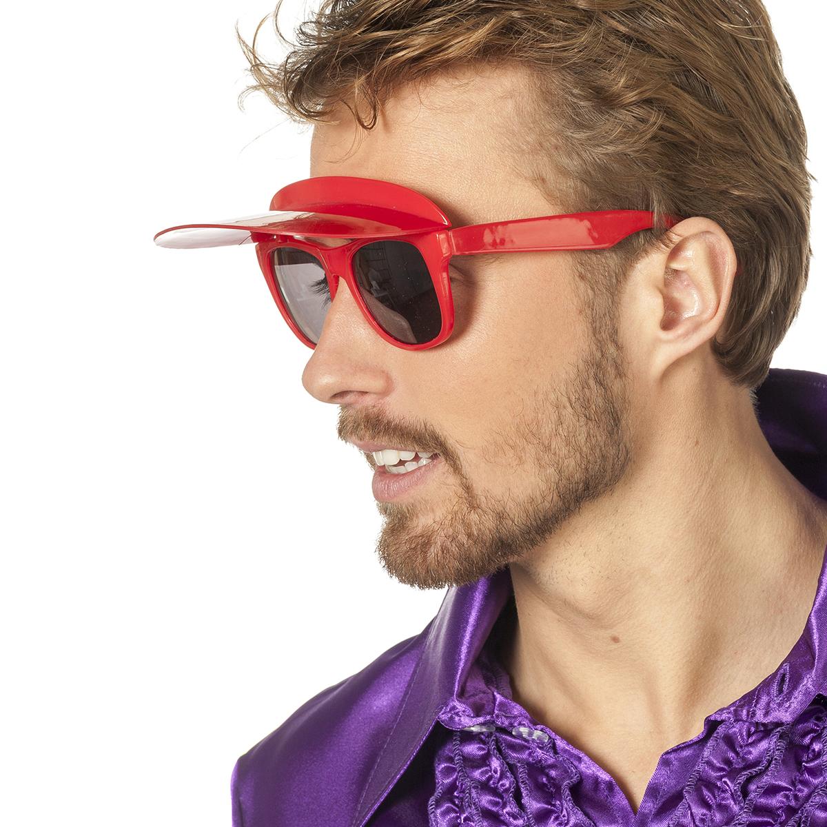 Bril met zonneklep rood