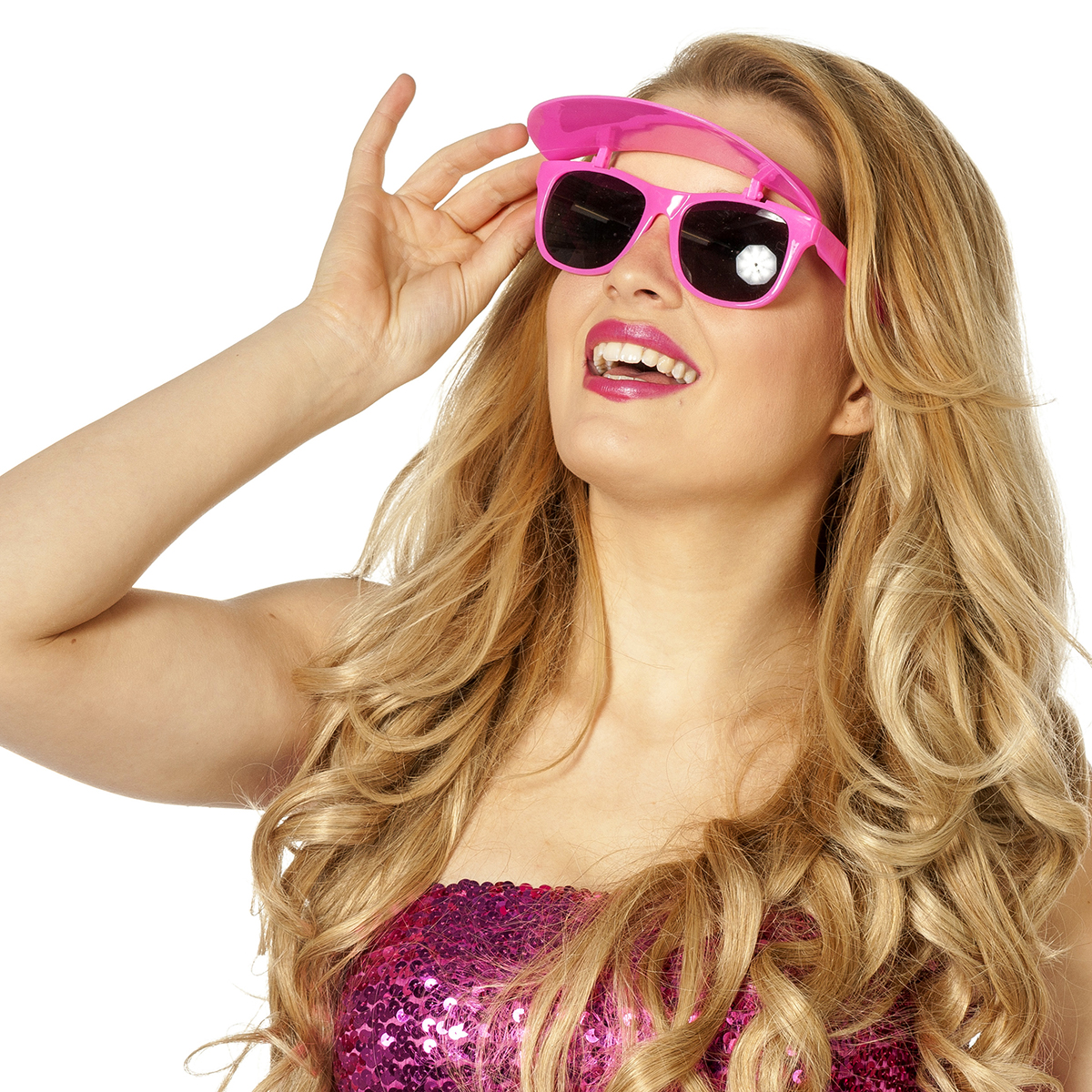Bril met zonneklep neon-pink
