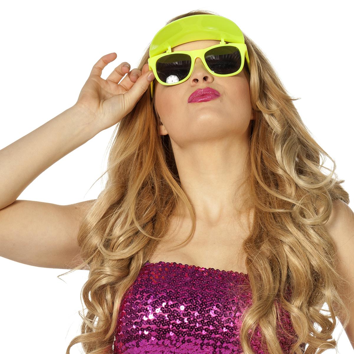 Bril met zonneklep neon-geel