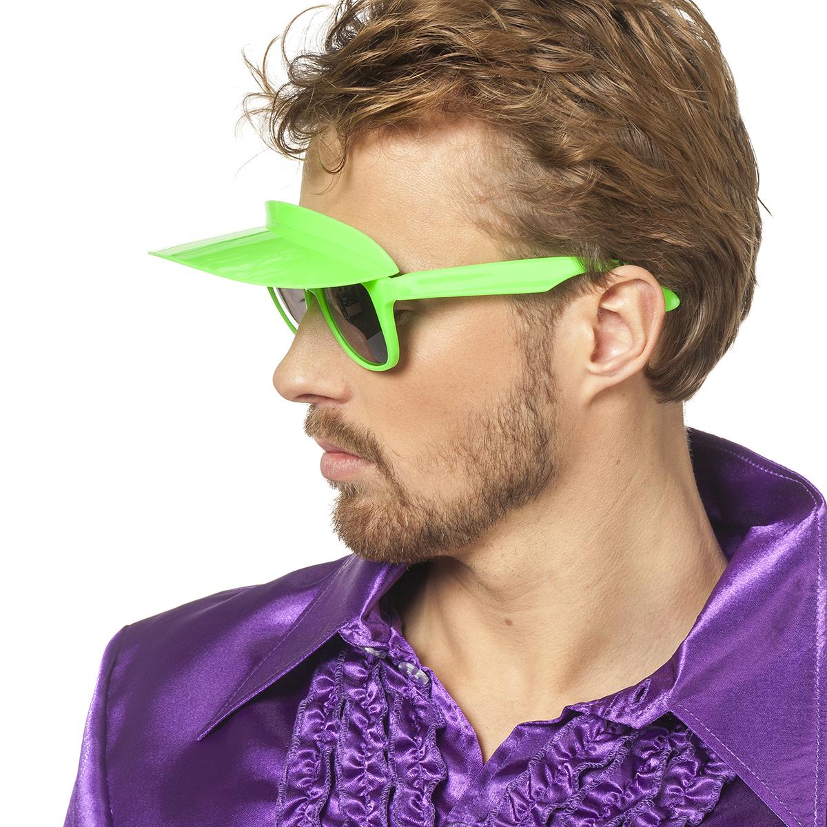 Bril met zonneklep neon-groen