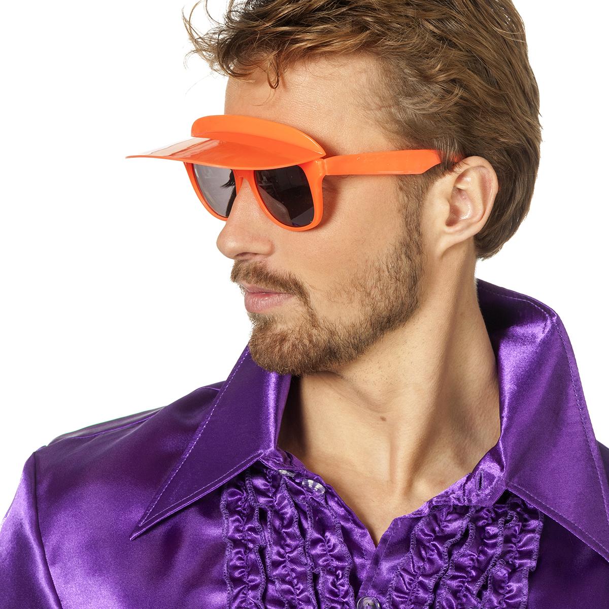 Bril met zonneklep neon-oranje