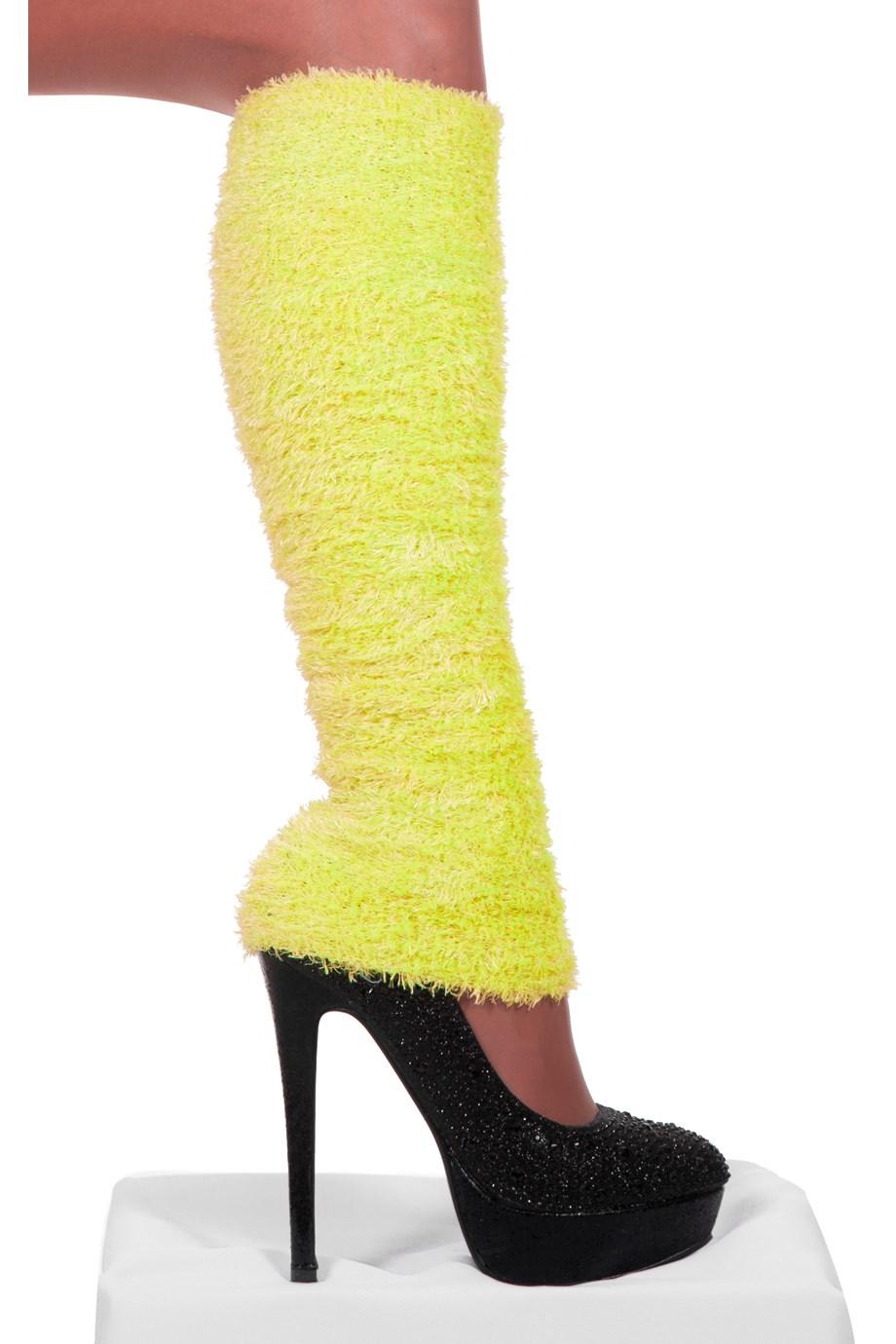 Beenwarmers pluche Neon-geel