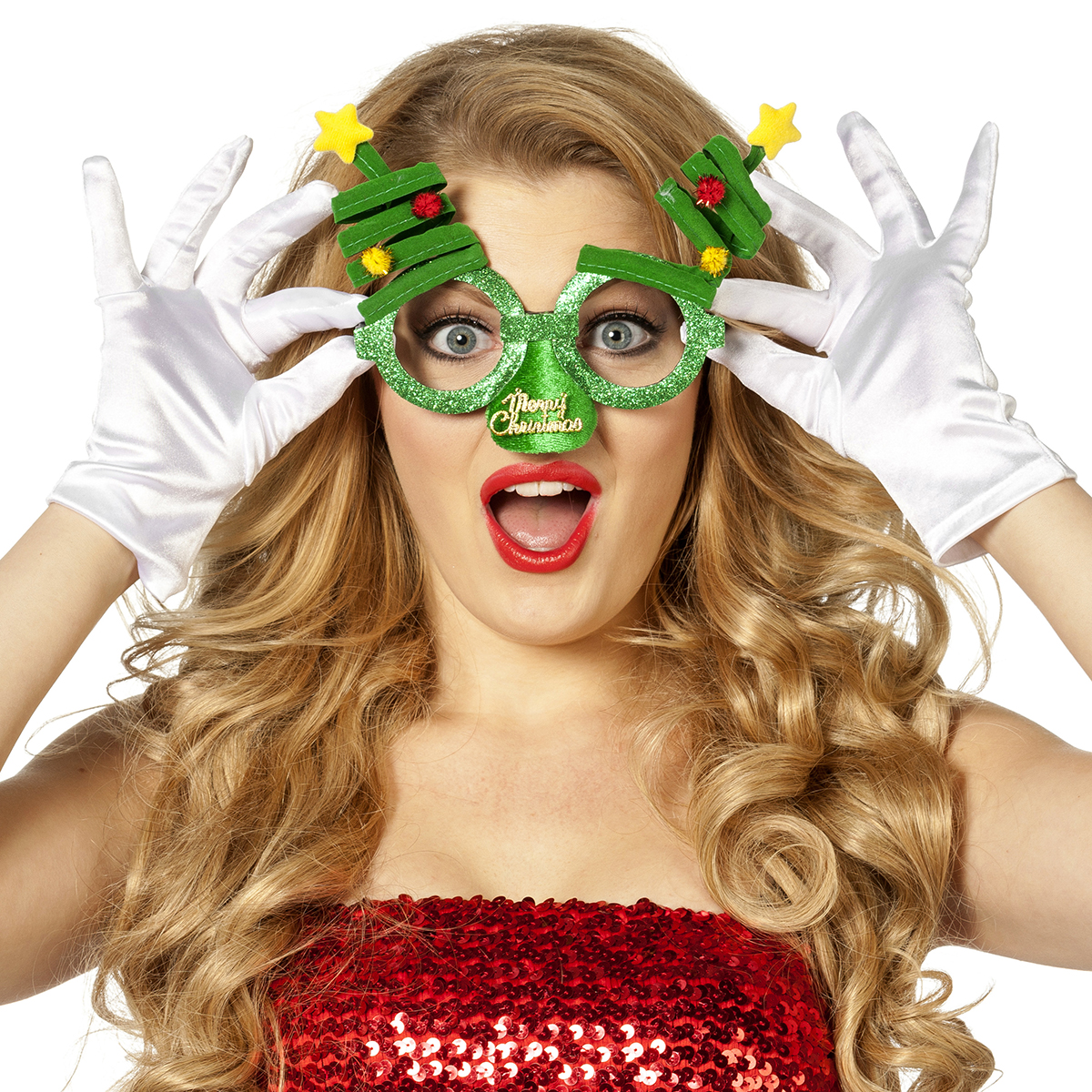 Bril kerst met neus groen met kerstbomen