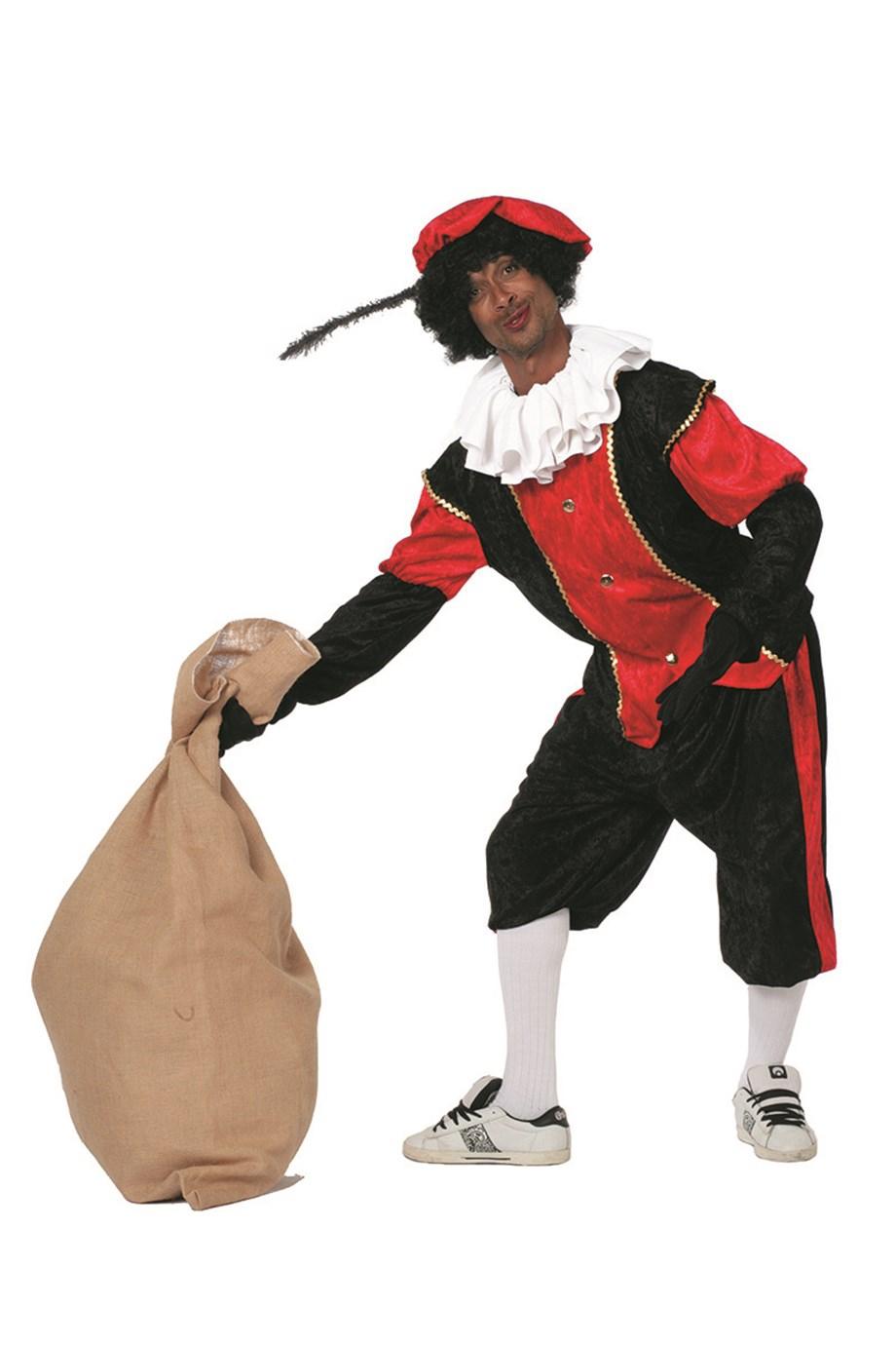 Budget Zwarte piet kostuum zwart/rood voor volwassenen