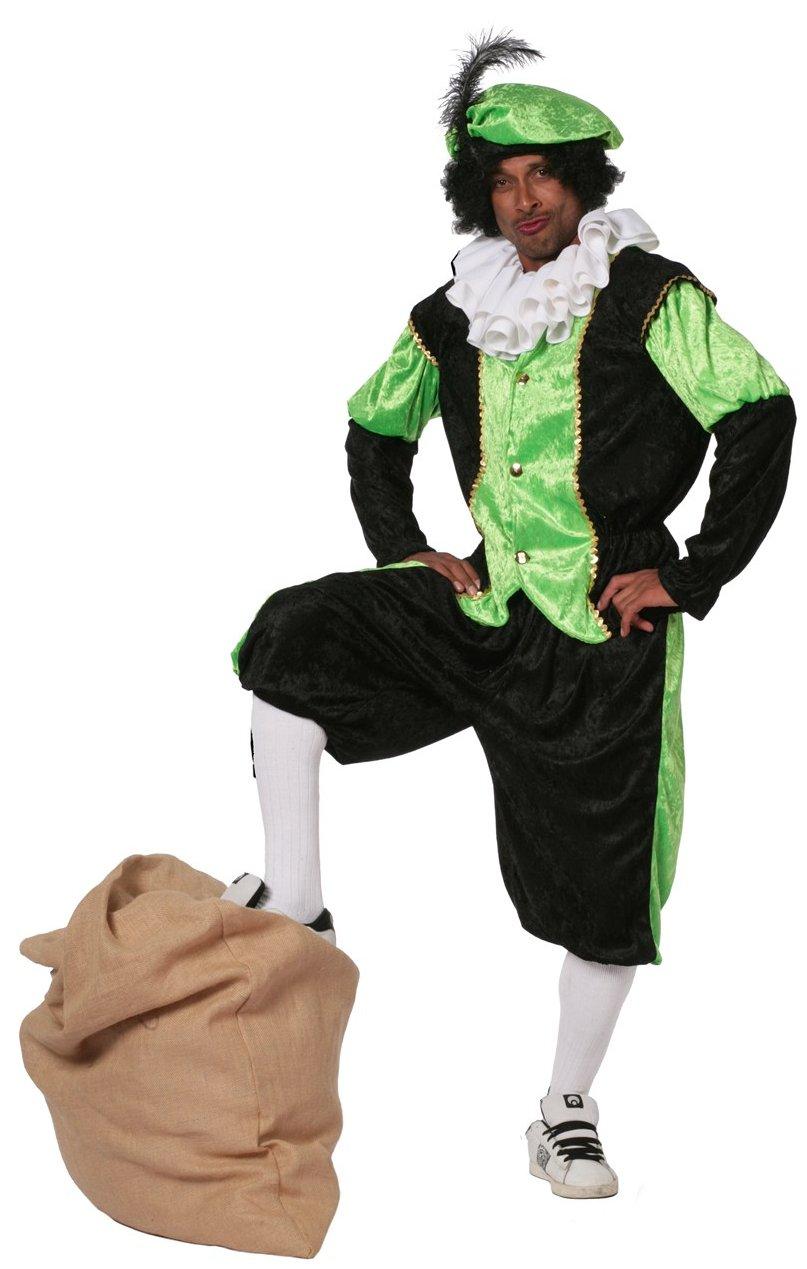 Budget Zwarte piet kostuum zwart/groen voor volwassenen