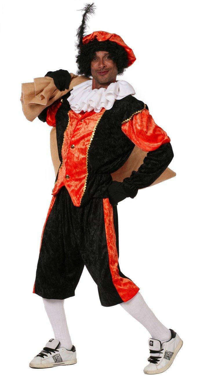 Budget Zwarte piet kostuum zwart/oranje voor volwassenen