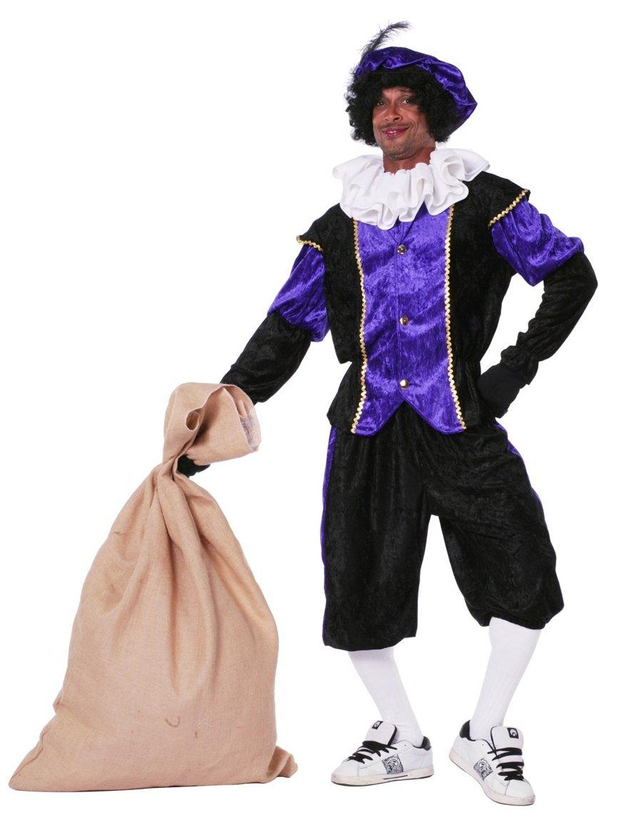 Budget Zwarte piet kostuum zwart/paars voor volwassenen