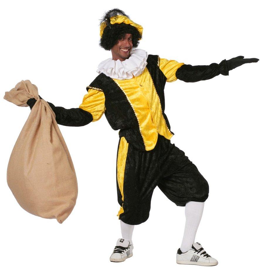 Budget Zwarte piet kostuum zwart/geel voor volwassenen